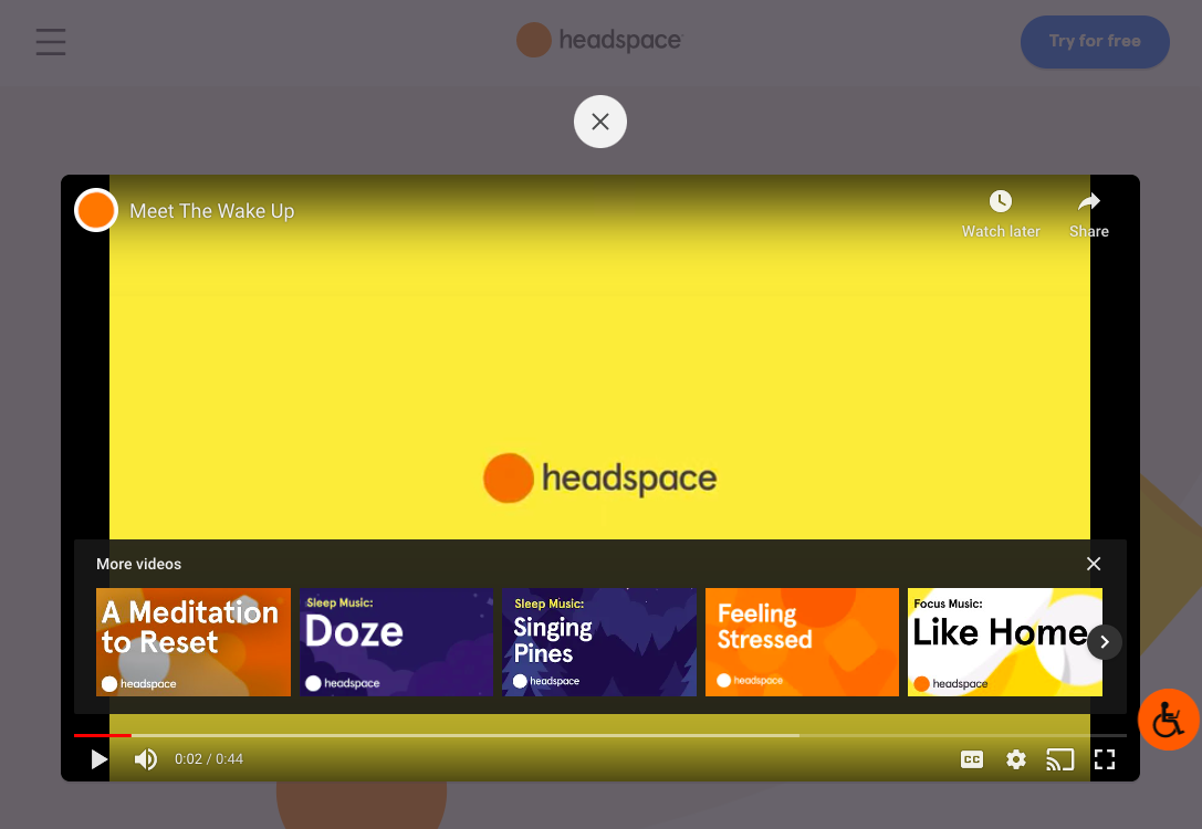 Headspace has a product demonstration video embedded in their website.