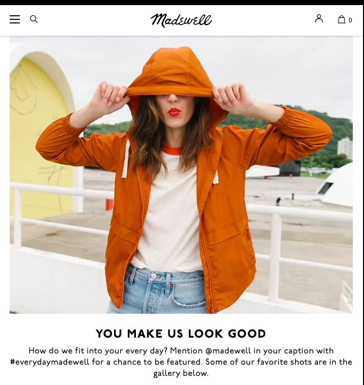 Madewell connects with customers by featuring their photos across the brand's social media platforms