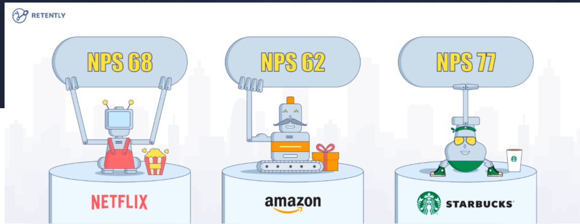 Popular companies use an NPS score to understand customer loyalty.