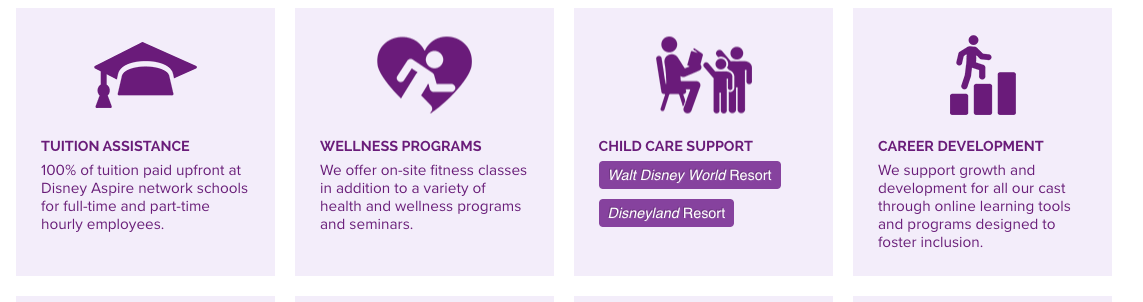 Disney offers monetary assistance, wellness programs, career development, and other perks to their employees.