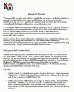 MSNBC RFP for marketing services example